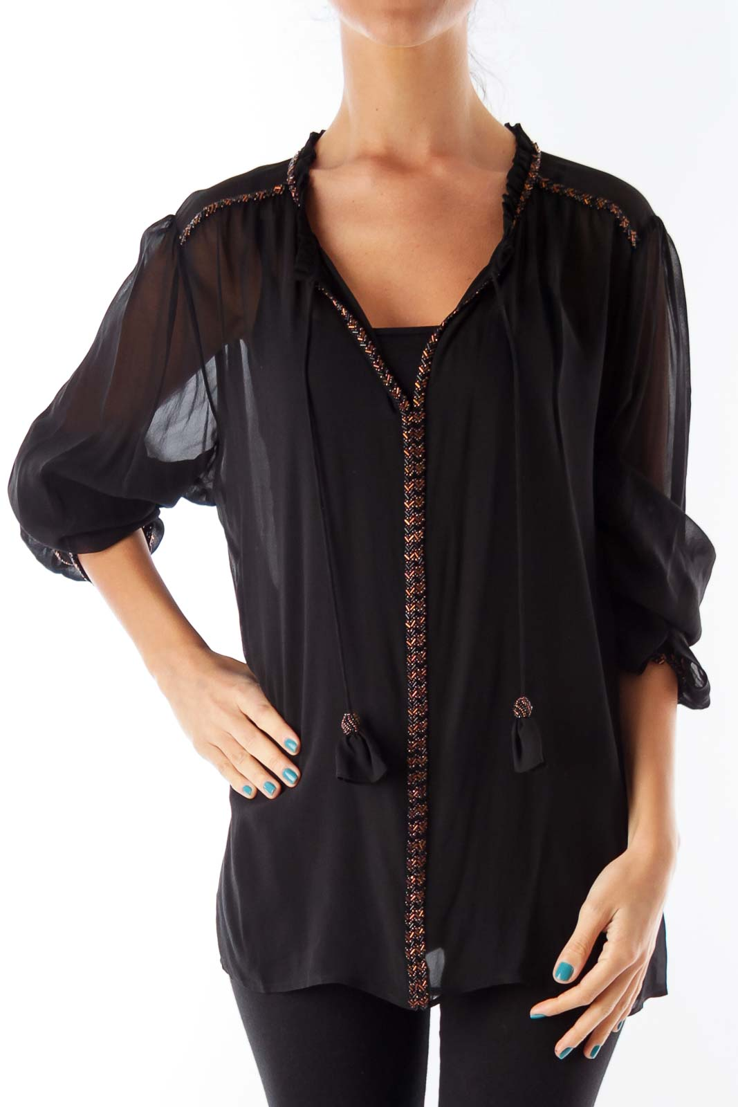 Black See-Through Embroidery Blouse Front