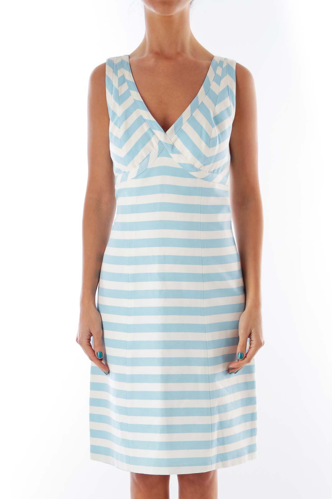 White & Blue Stripe Dress Front