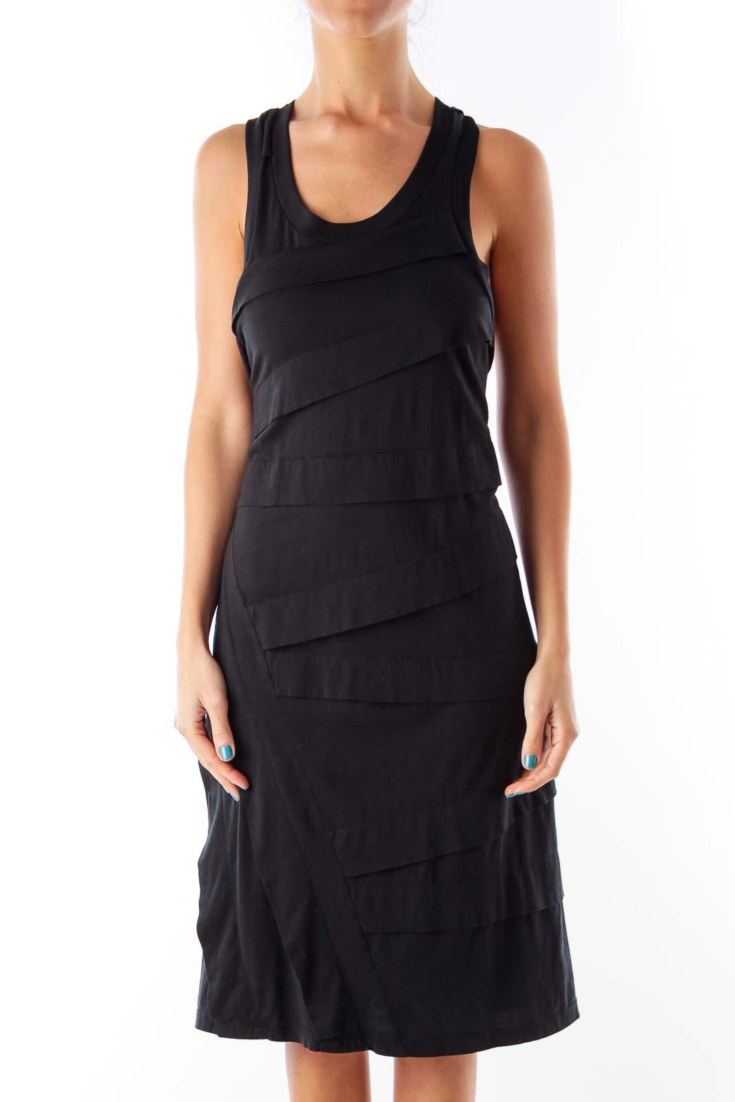 Black Layer Knee Length Dress Front
