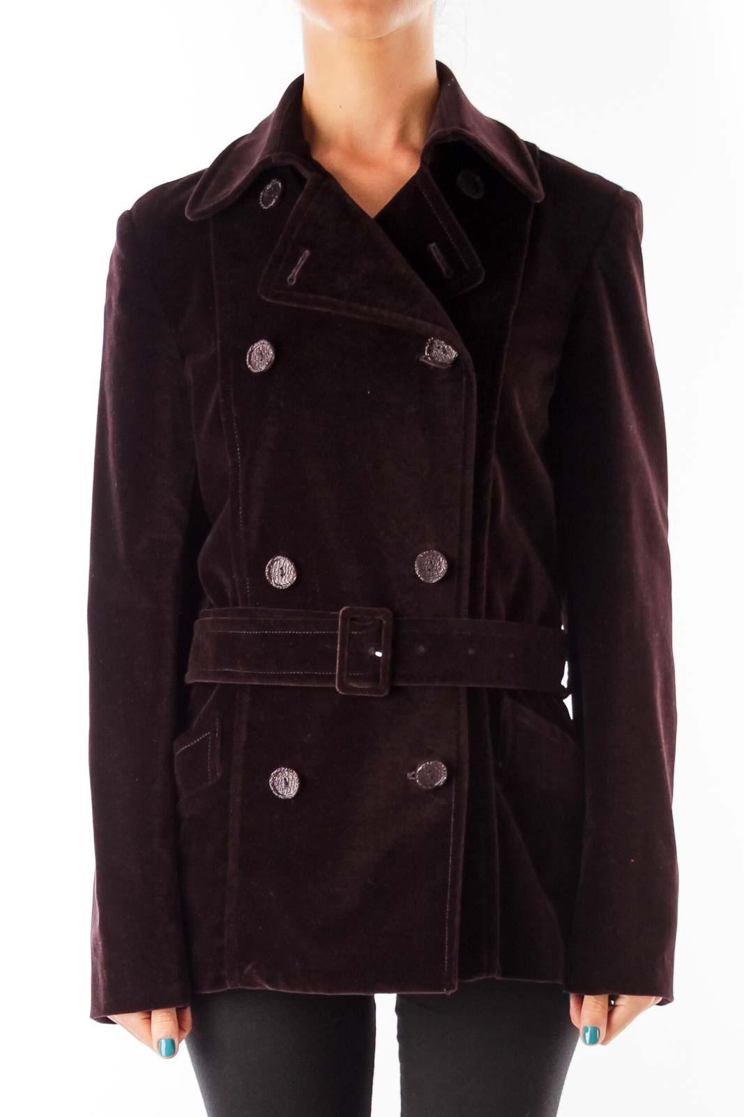 Burgundy Velvet Jacket Front