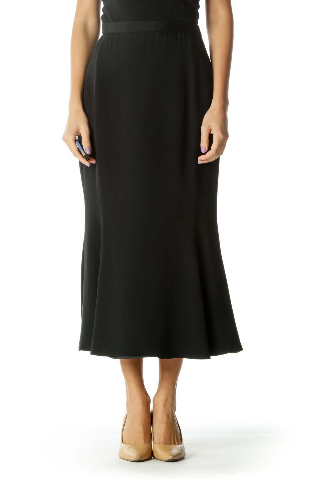 Black Vintage Trumpet Skirt Front