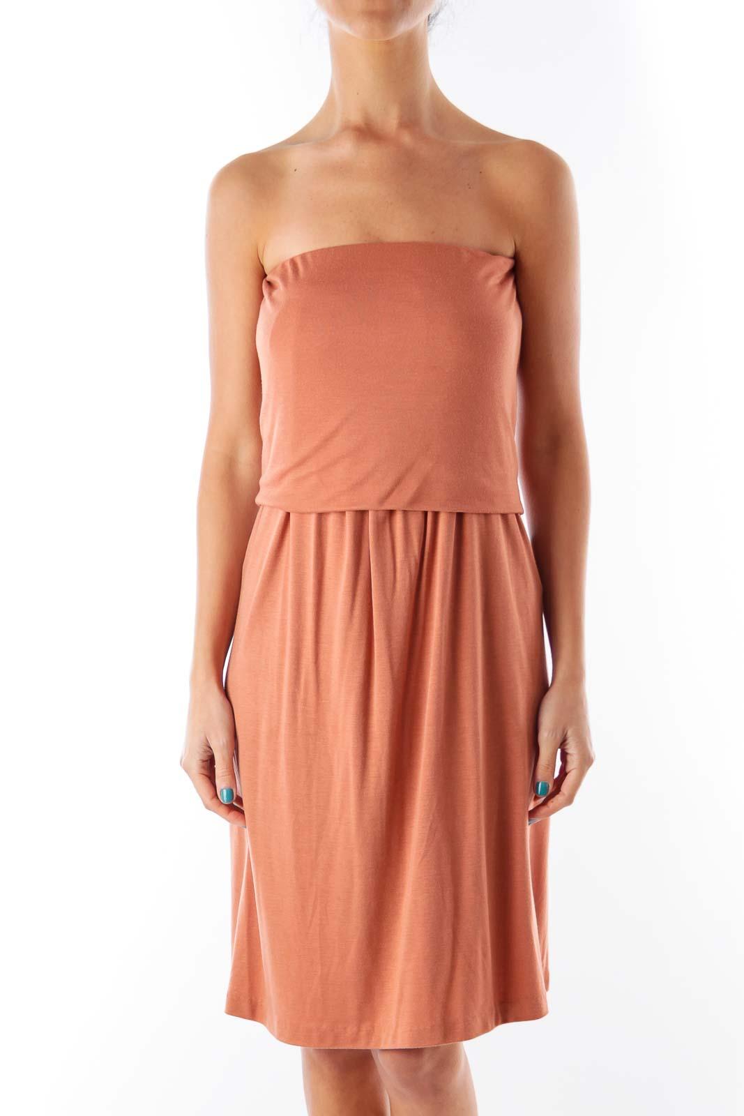 Brown Strapless Mini Dress Front