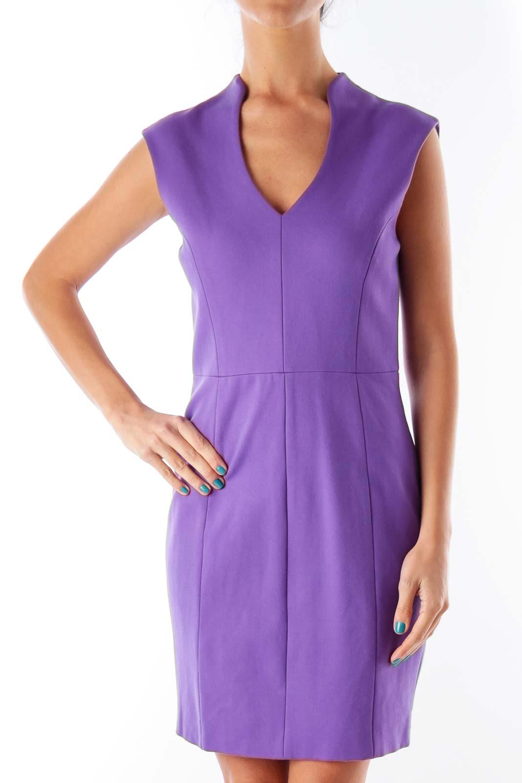 Purple Shift Mini Dress Front