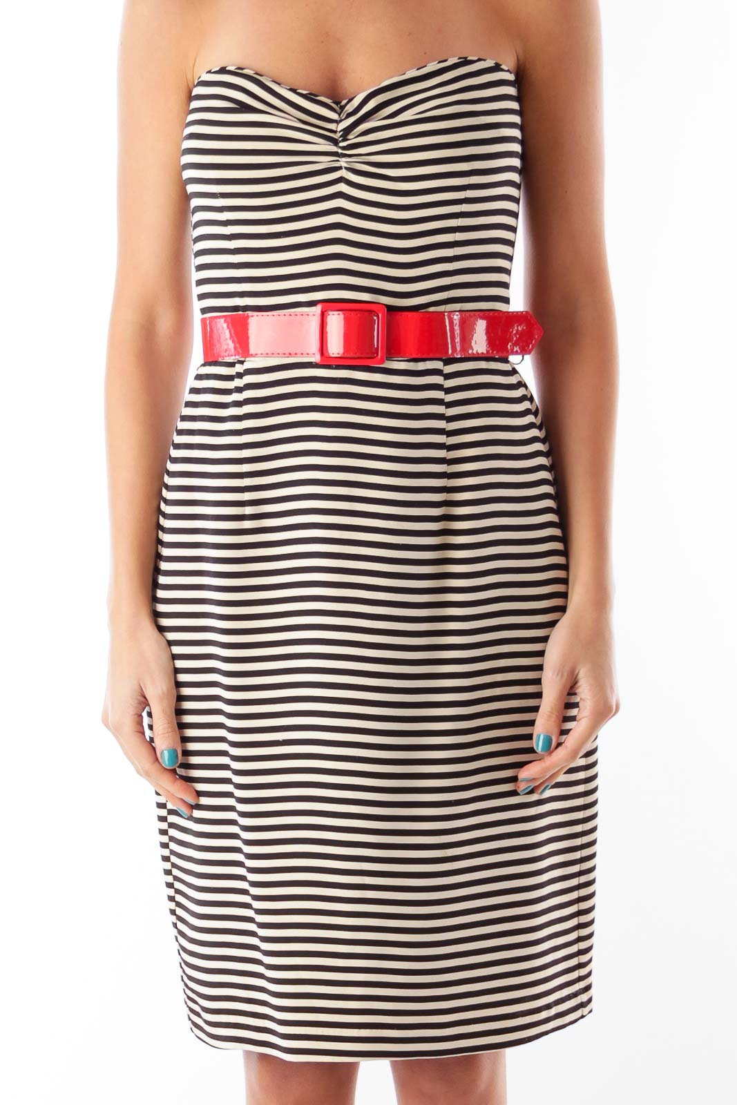 Black & White Stripe Dress Front