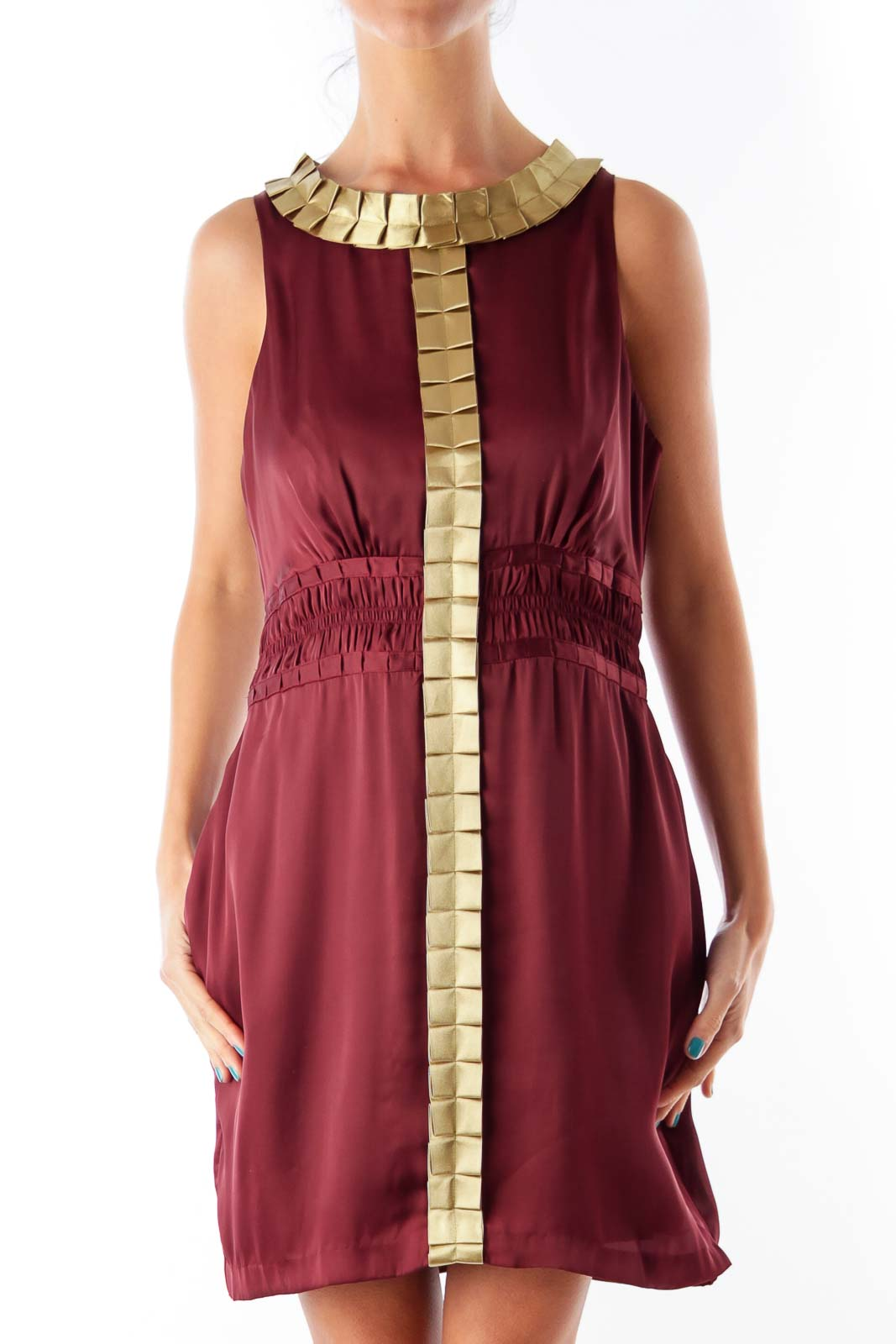 Burgundy & Gold Trim Dress Front