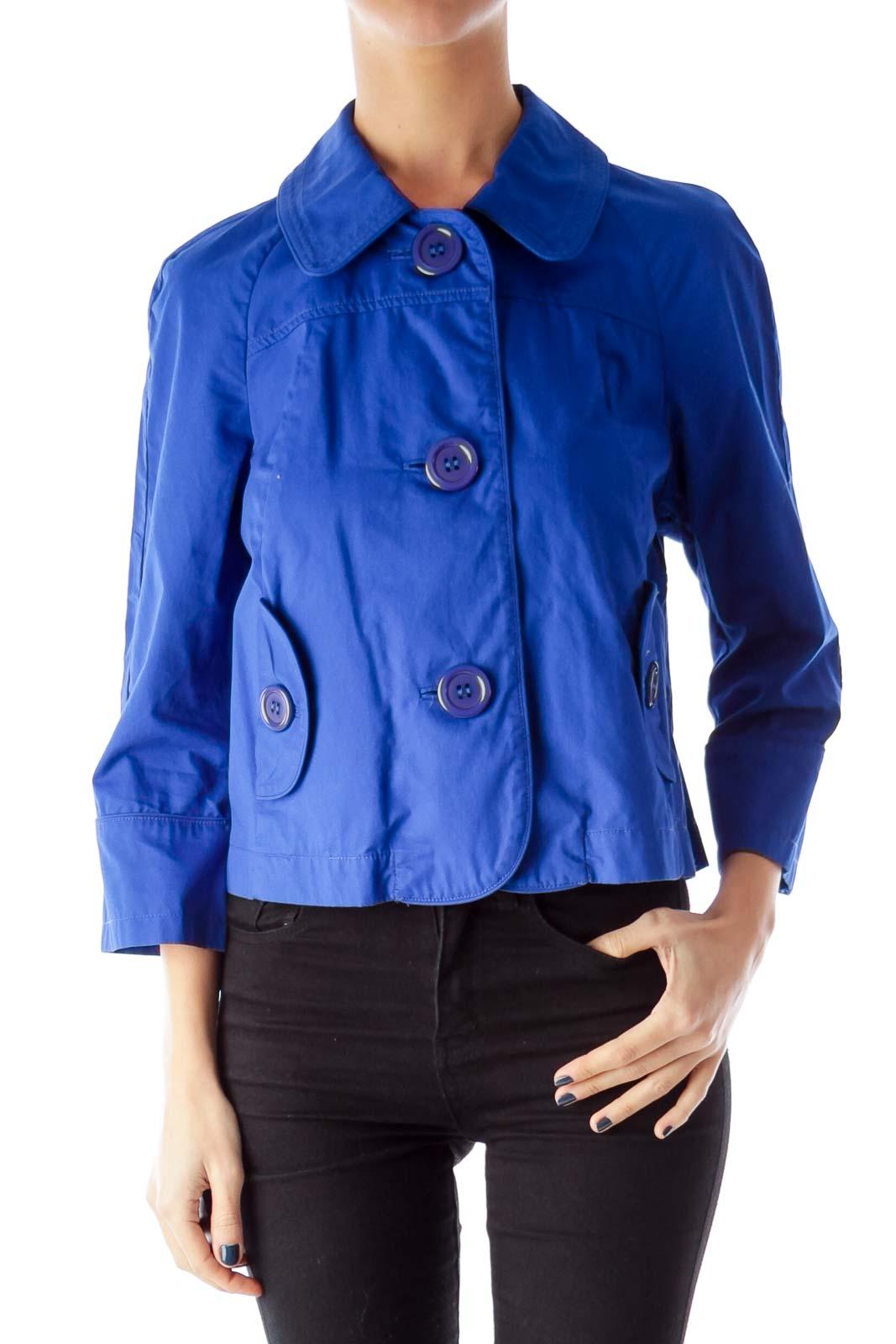 Blue 3/4 Sleeve Jacket Front