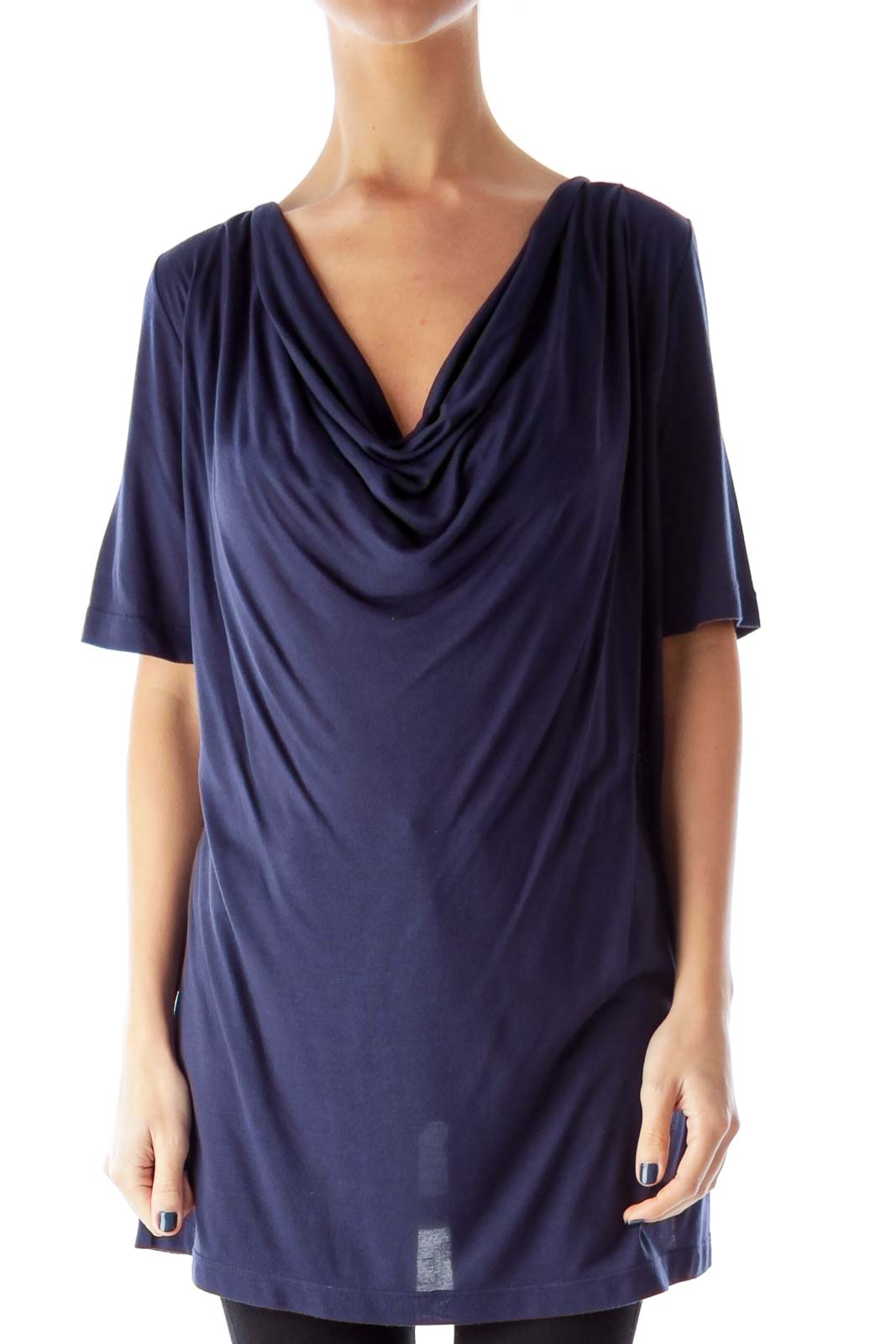 Navy Long Drape Shirt Front