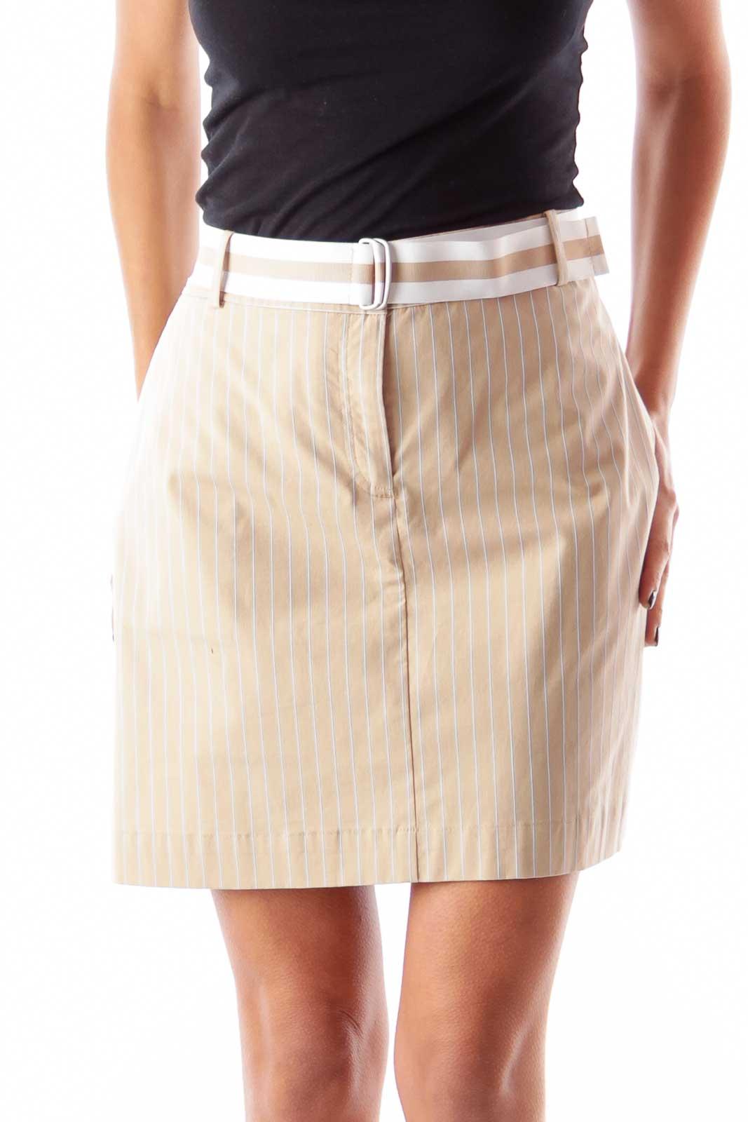 Beige Pinstripe Skirt Front