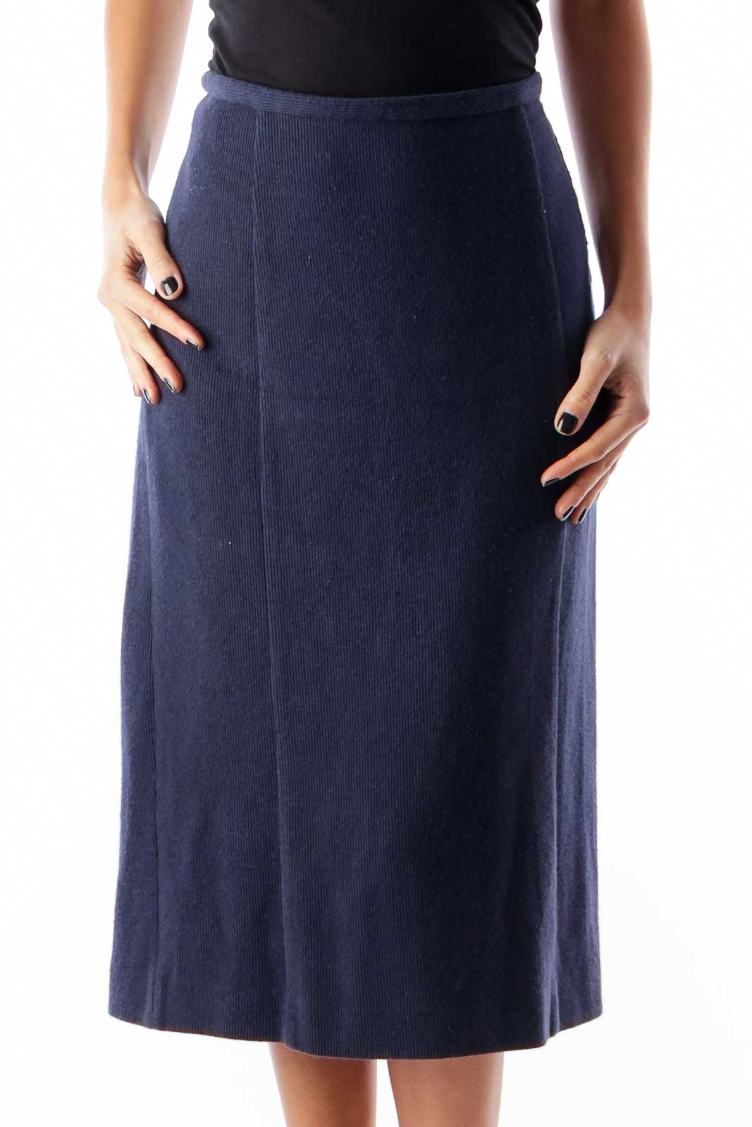 Navy Knit Pencil Skirt Front
