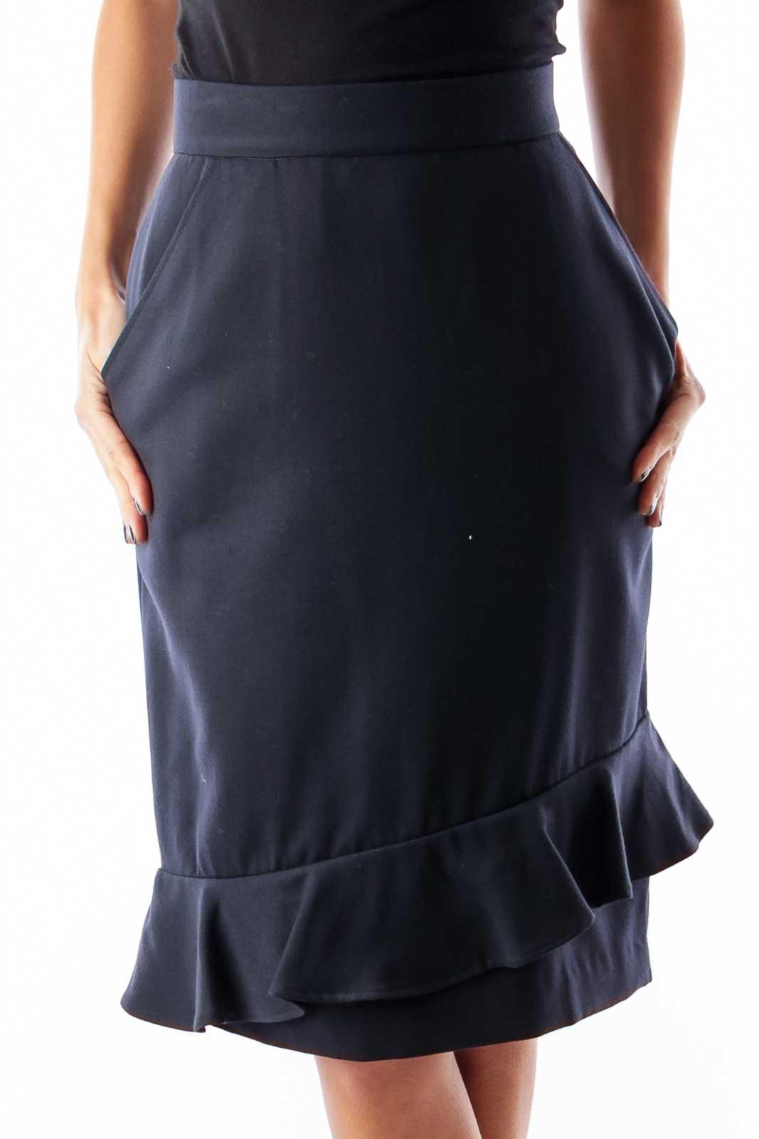 Navy Ruffle Bottom Skirt Front