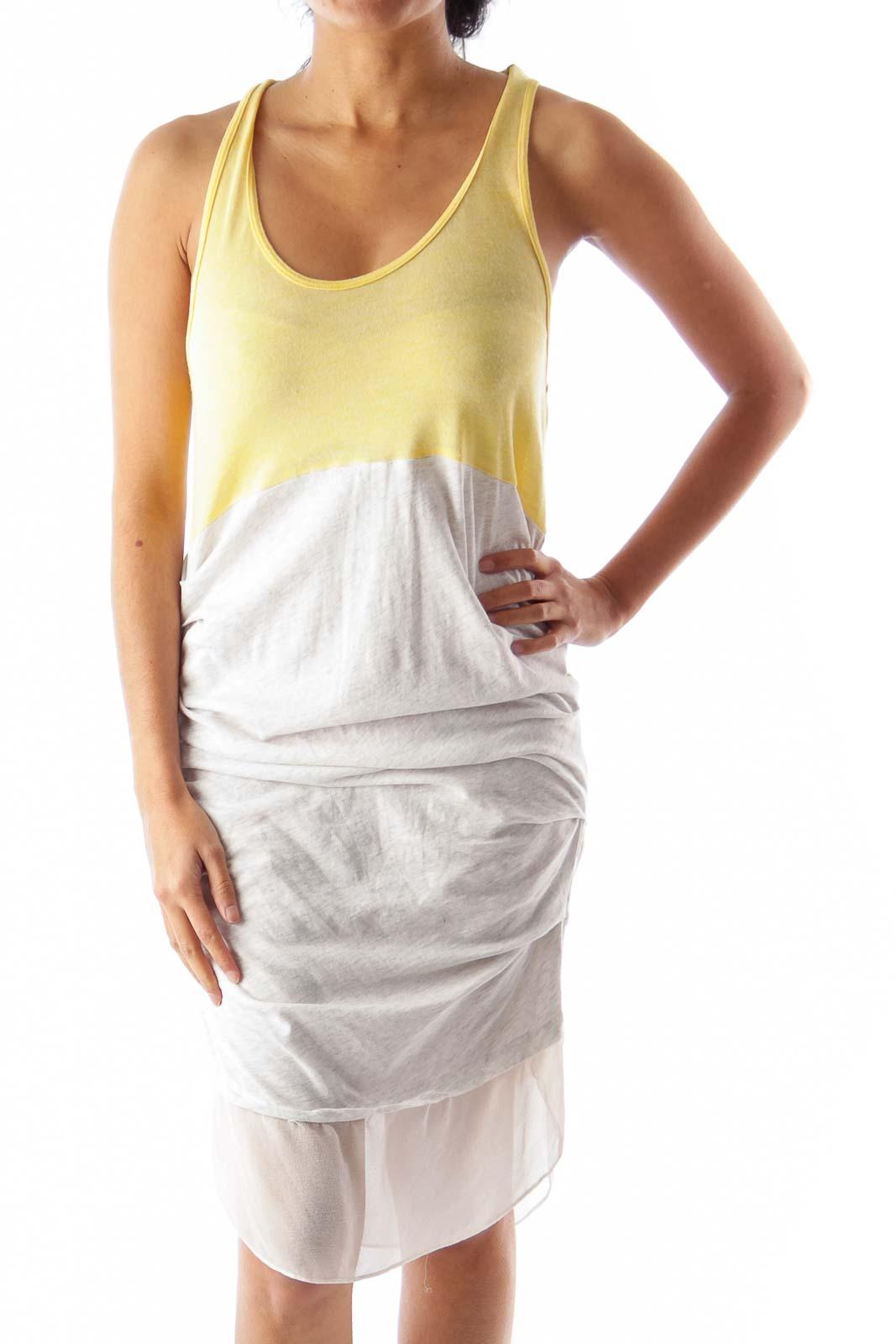 Yellow & Gray Tank Dress Front