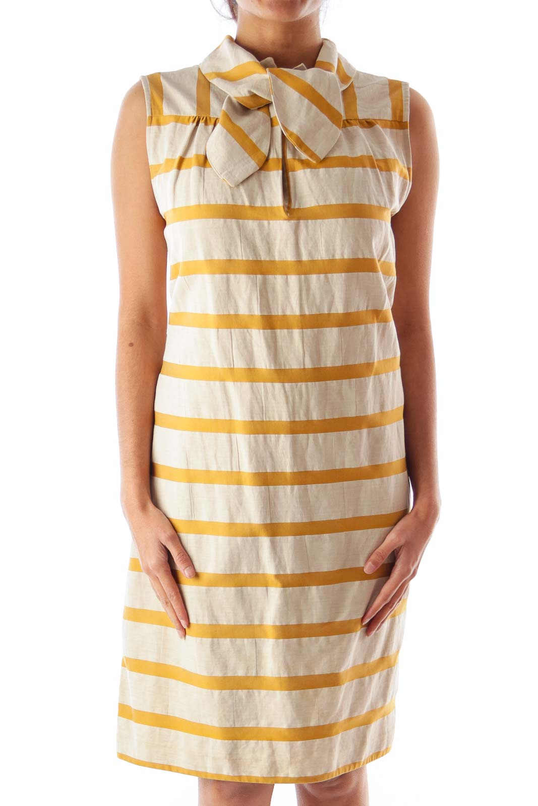 Yellow & Beige Stripe Dress Front