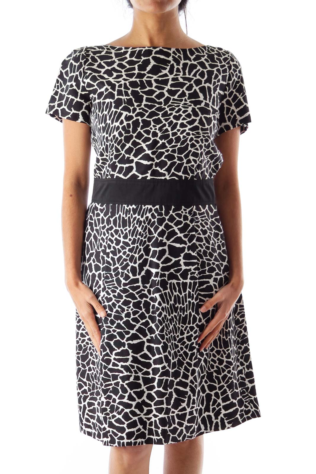 Black & White Print Dress Front