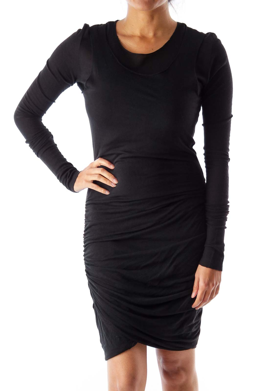 Black Adjusted Midi Dress Front