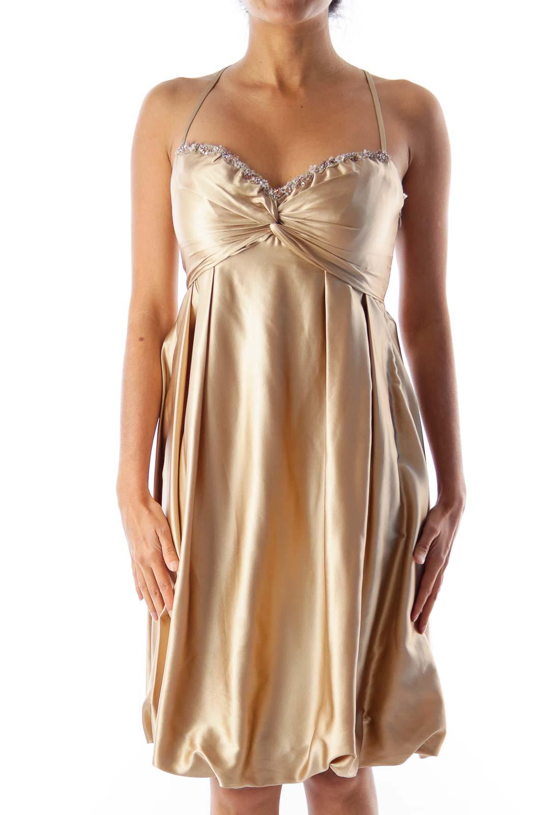Beige Balone Silk Dress Front