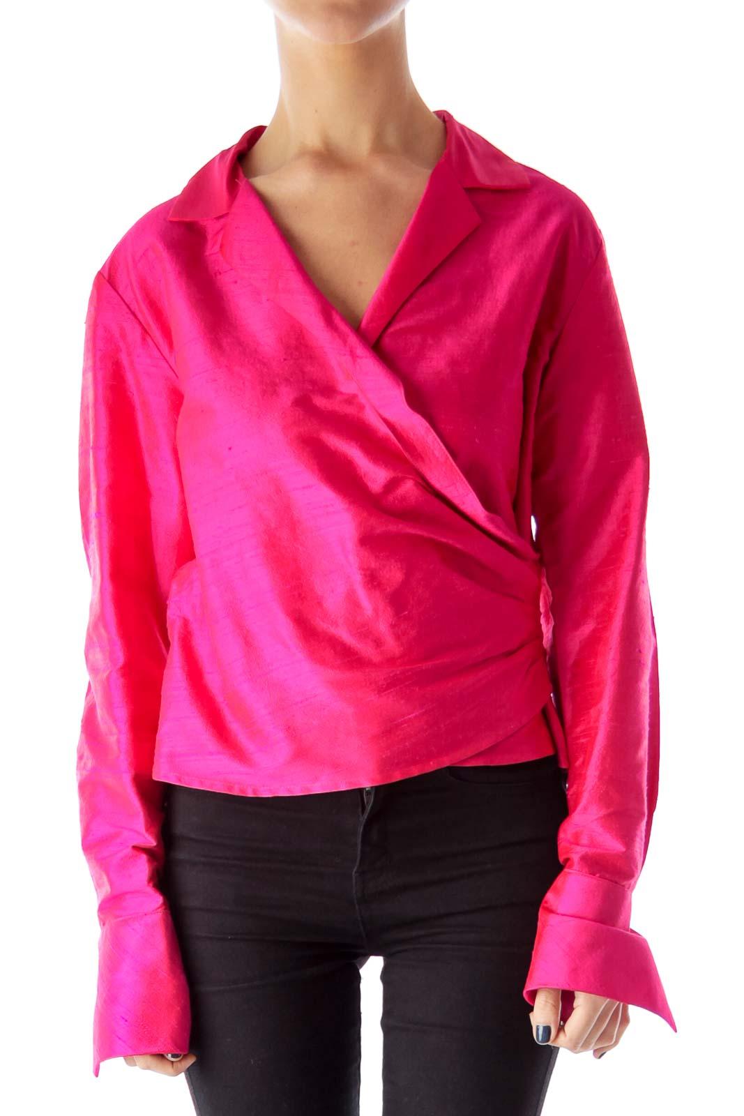 Pink Wrap Crop Blouse Front