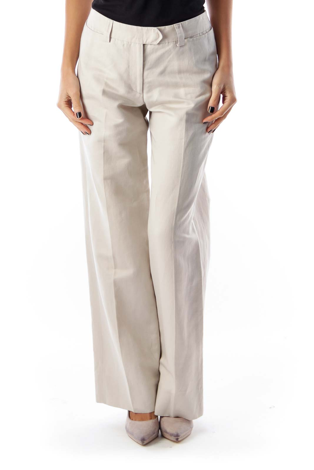 Beige Wide Legs Pants Front