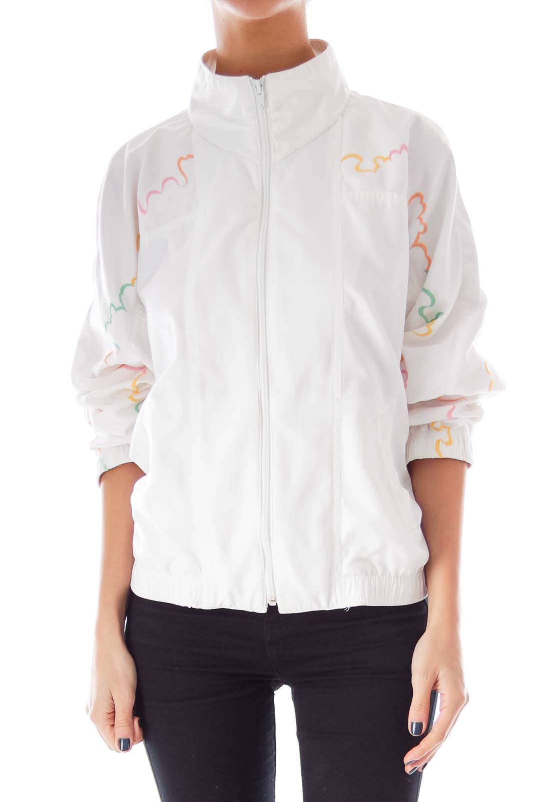 White Embroidered Jacket Front
