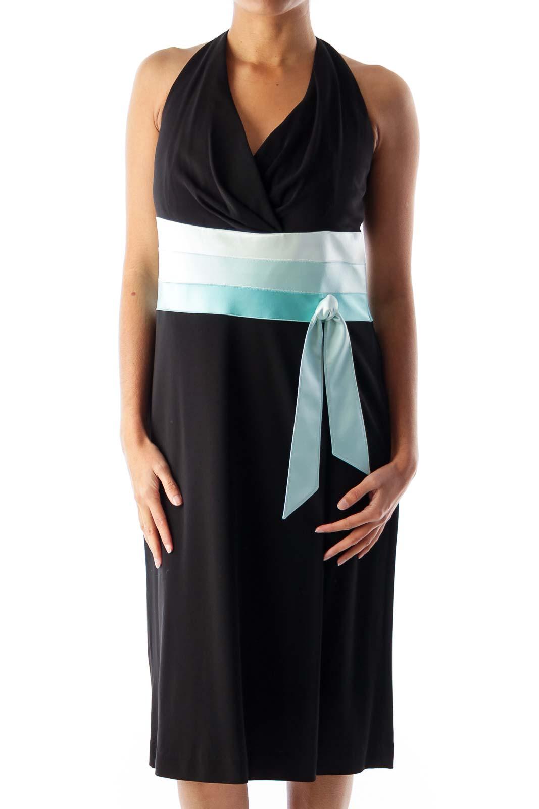 Black & Blue Color Block Dress Front