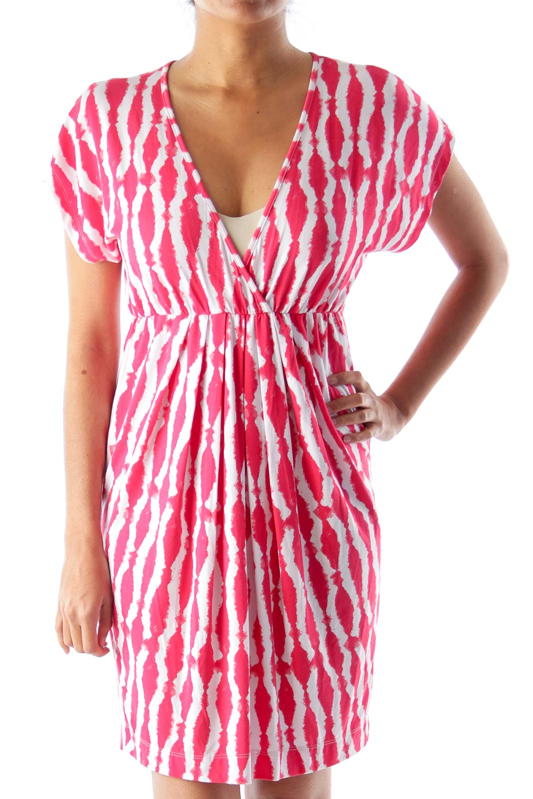Red Print Elastic Dress Front