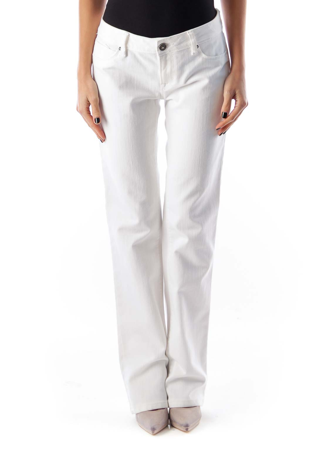 White Flare Slim Jeans Front