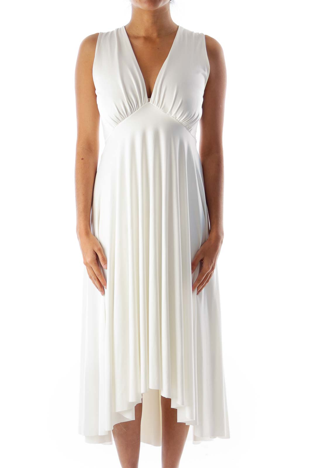 White Halter Midi Dress Front