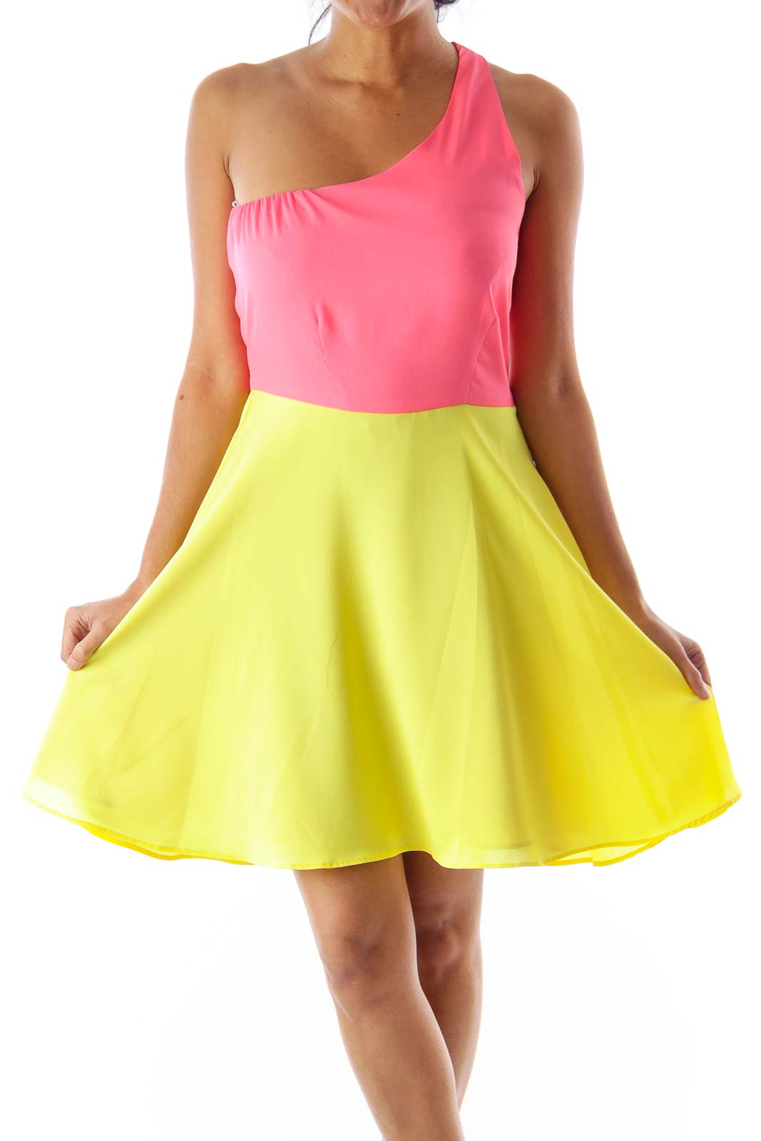 Pink & Yellow One Shoulder Dress Front