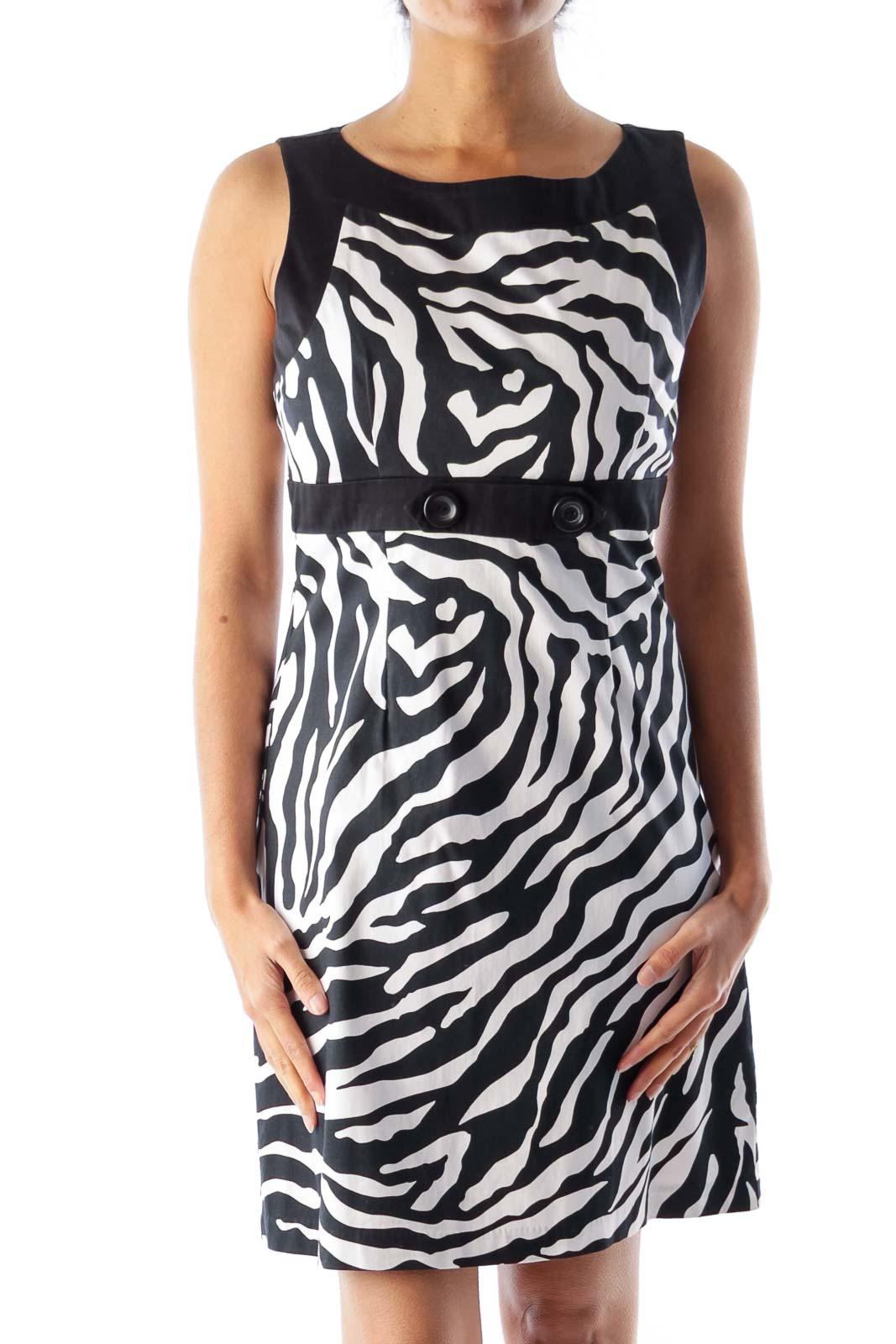 B&W Animal Print Dress Front