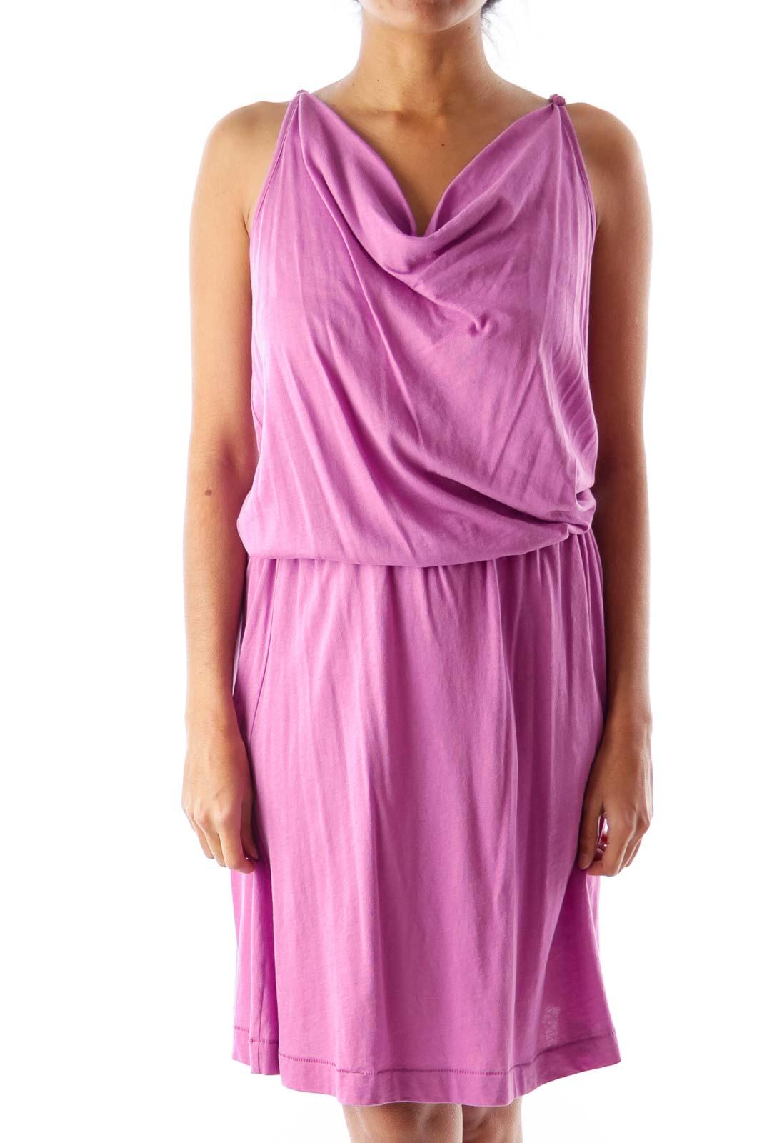 Purple Cowl Neck Tank Dress Front