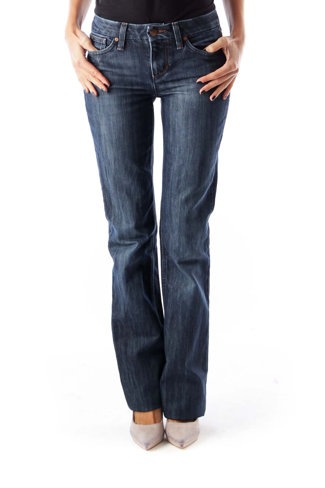 Blue Washed Flare Jeans Front
