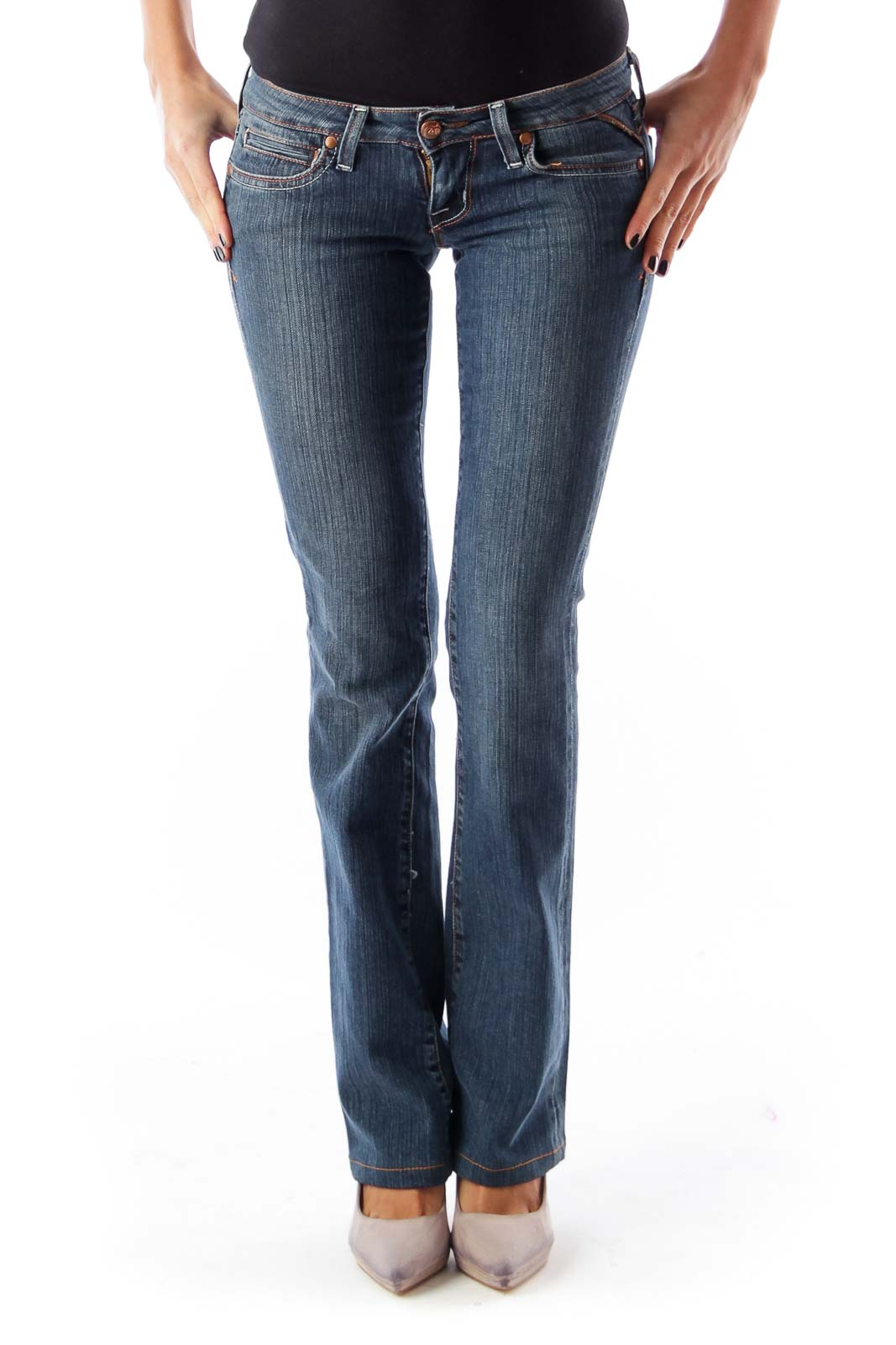 Blue Low Rise Flare Jeans Front