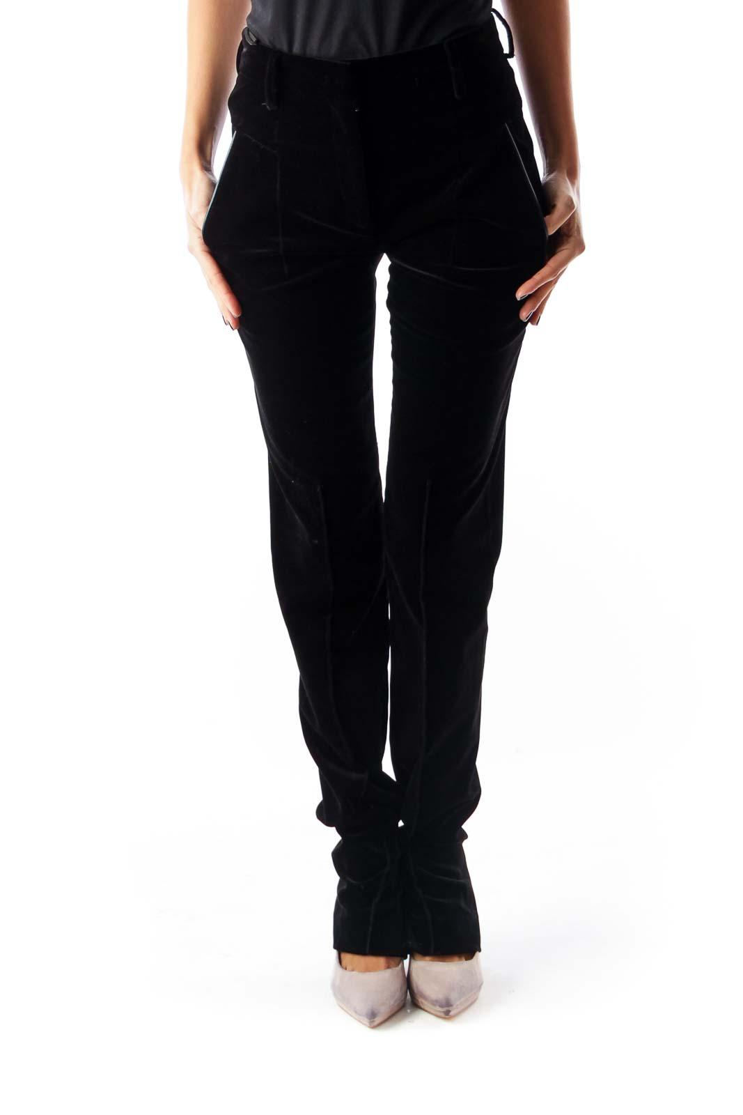 Black Velvet Skinny Pants Front