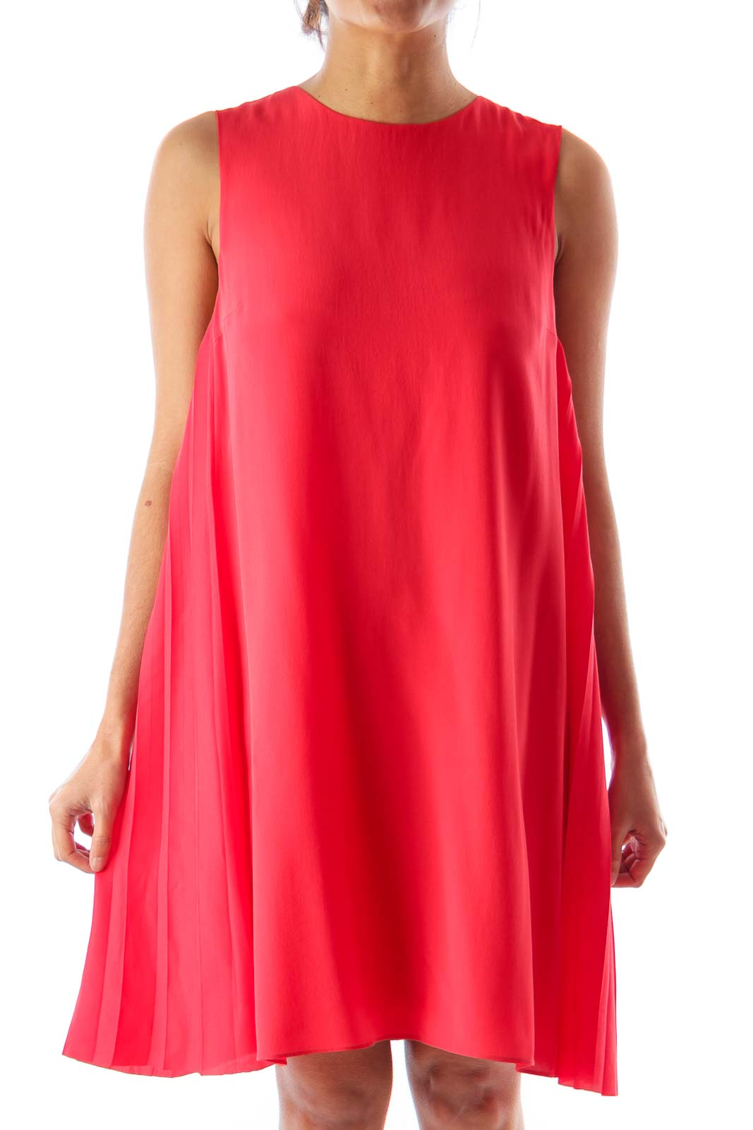 Red Side Draped Dress Front