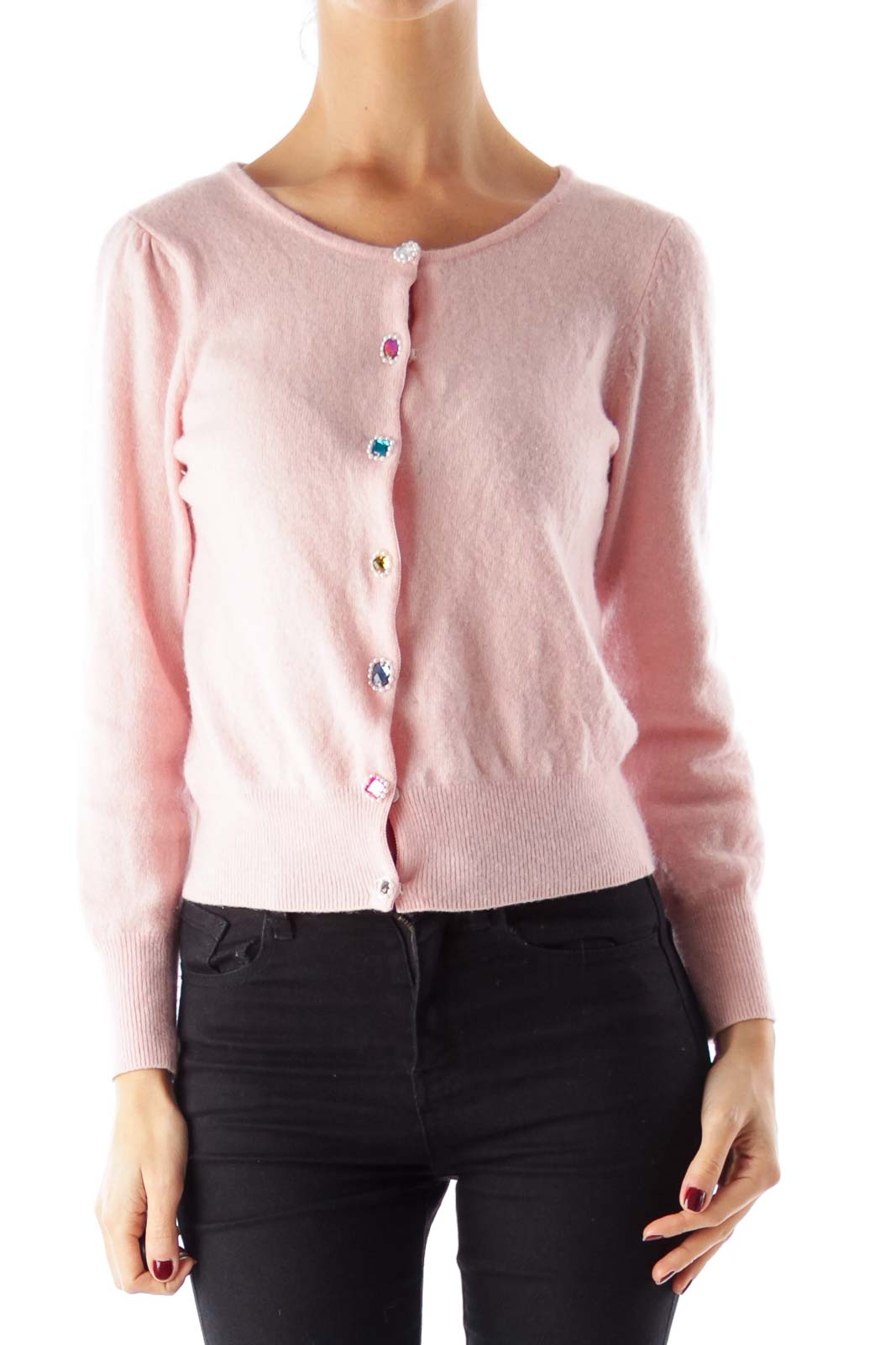 Pink Embellished Button Sweater Front