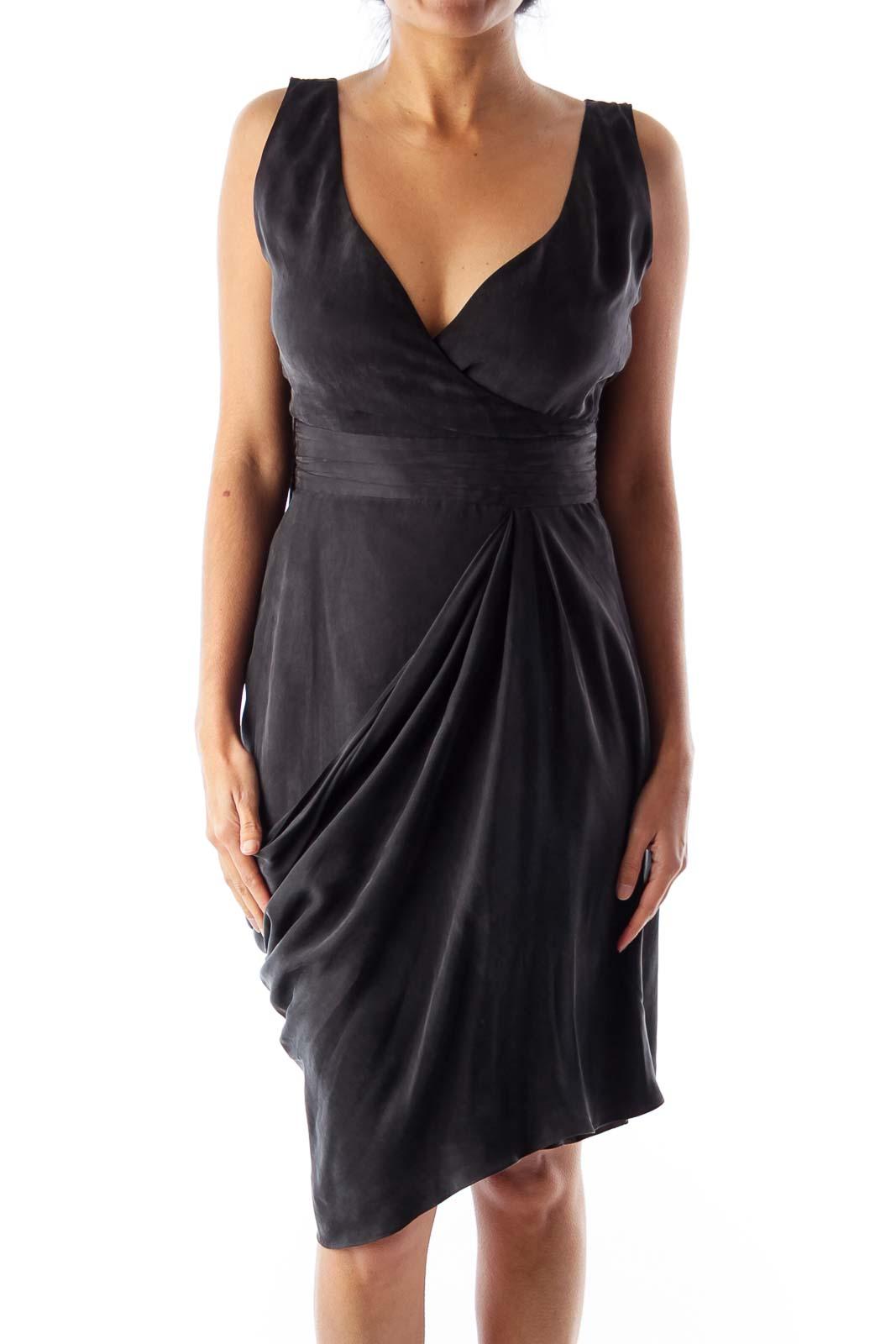 Black Suede Wrap Dress Front