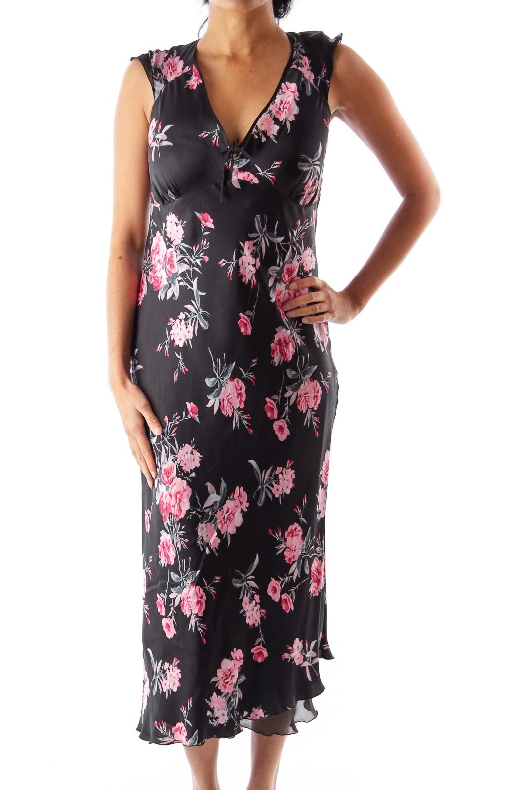 Black Floral Midi Dress Front