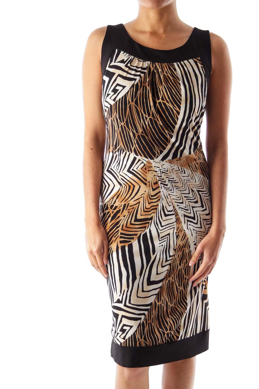 Animal Print Sleeveless Dress Front