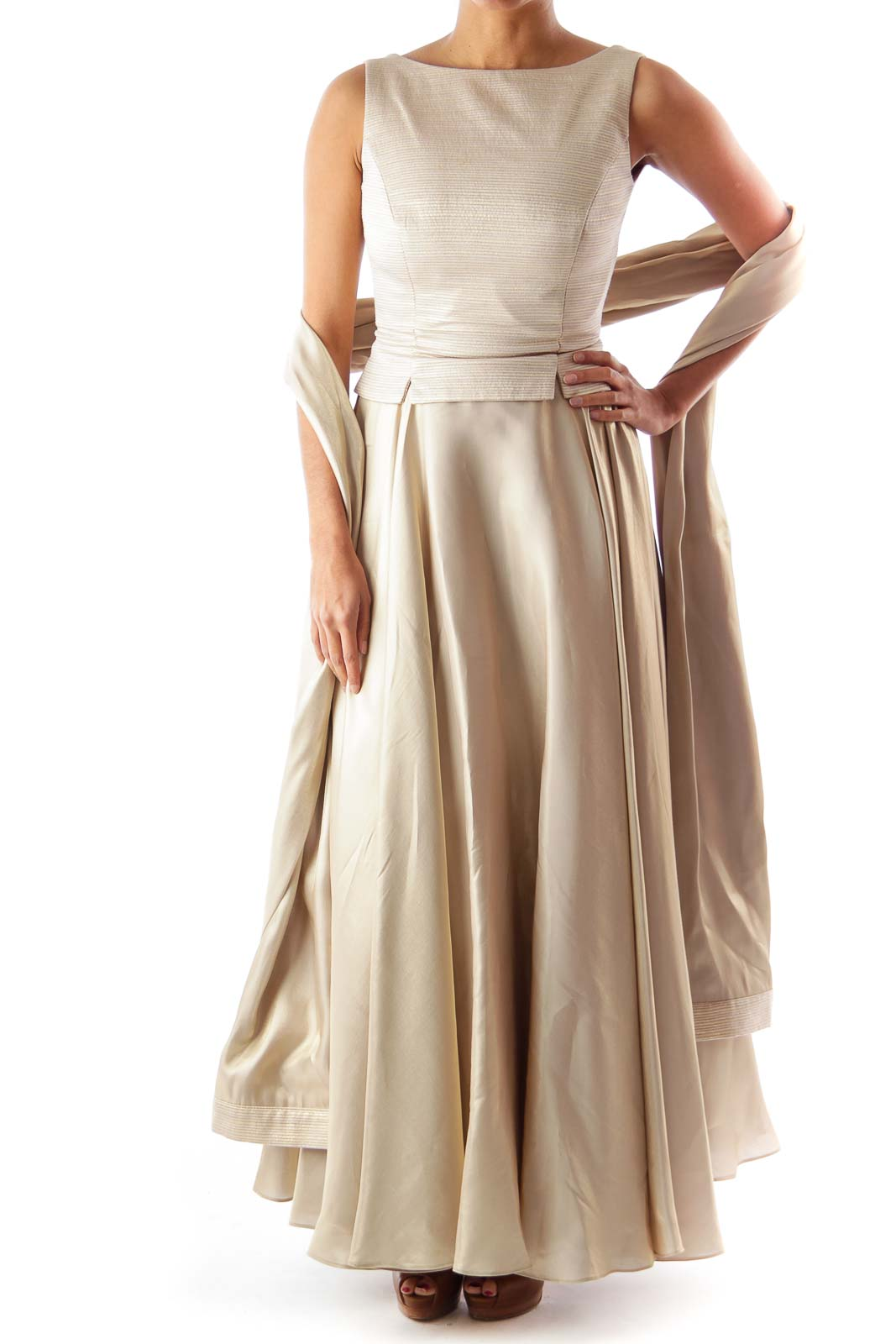 Gold Maxi Gown Dress Front