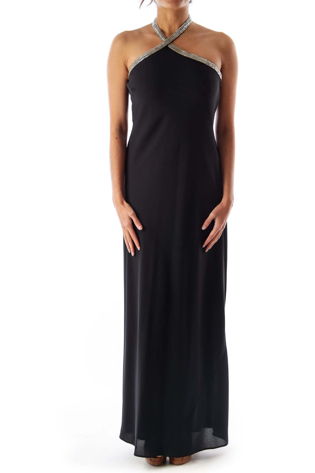 Black Halter Embelished Dress Front