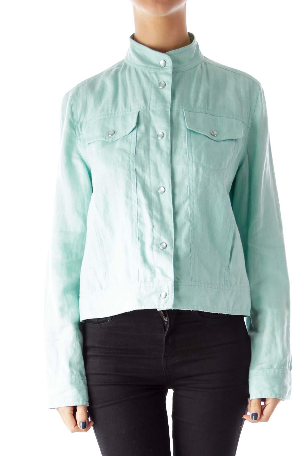 Pastel Blue Linen Jacket Front