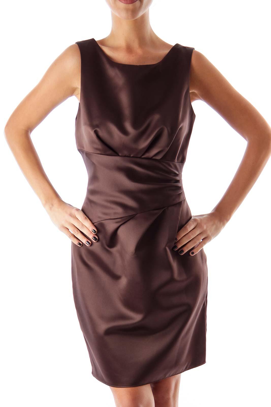 Brown Satin Shift Dress Front