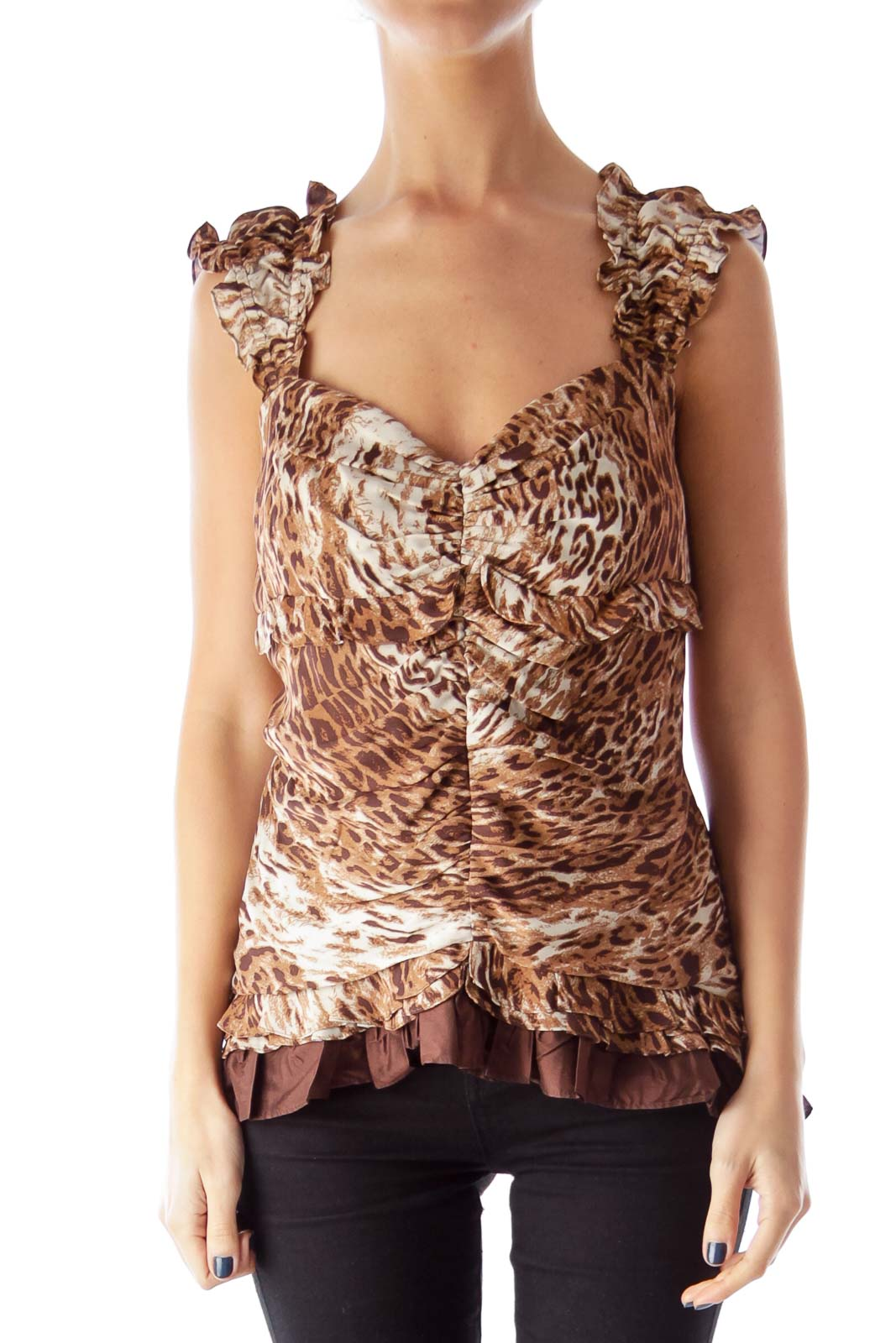 Animal Print Ruffle Top Front
