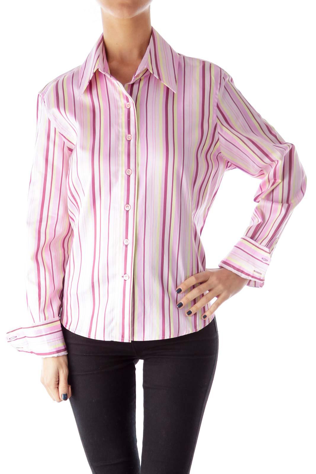 Pink & Yellow Stripe Shirt Front