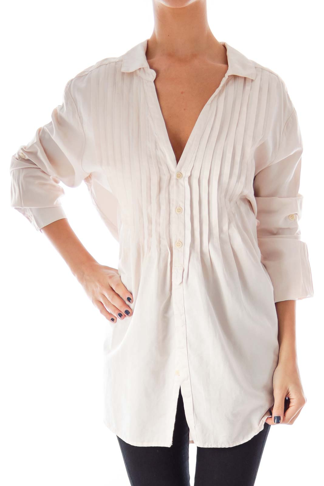 Light Pink Pleated Shirt Front