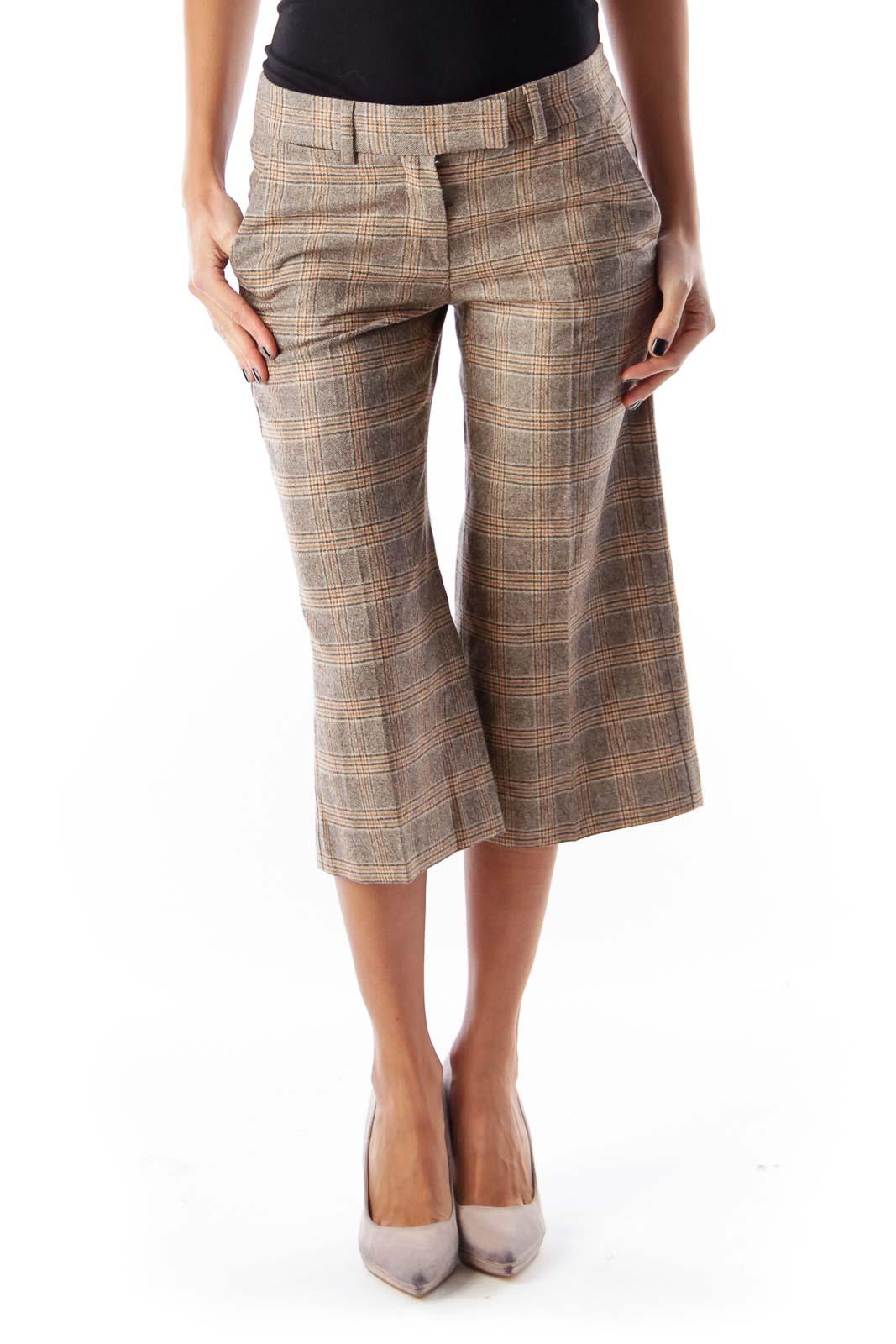 Beige Plaid Crop Pants Front