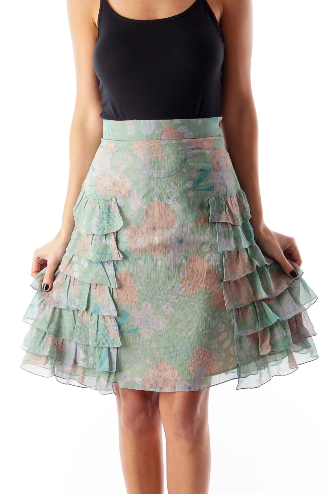 Floral Print Ruffle Skirt Front