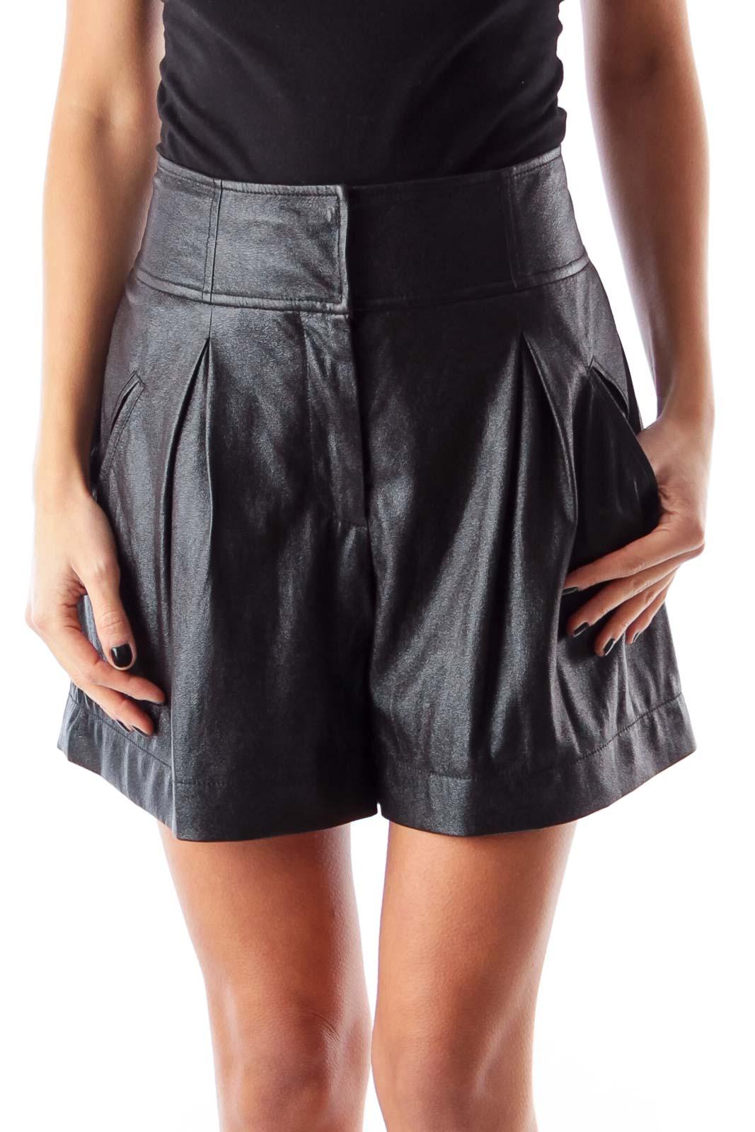 Black Faux Leather Shorts Front