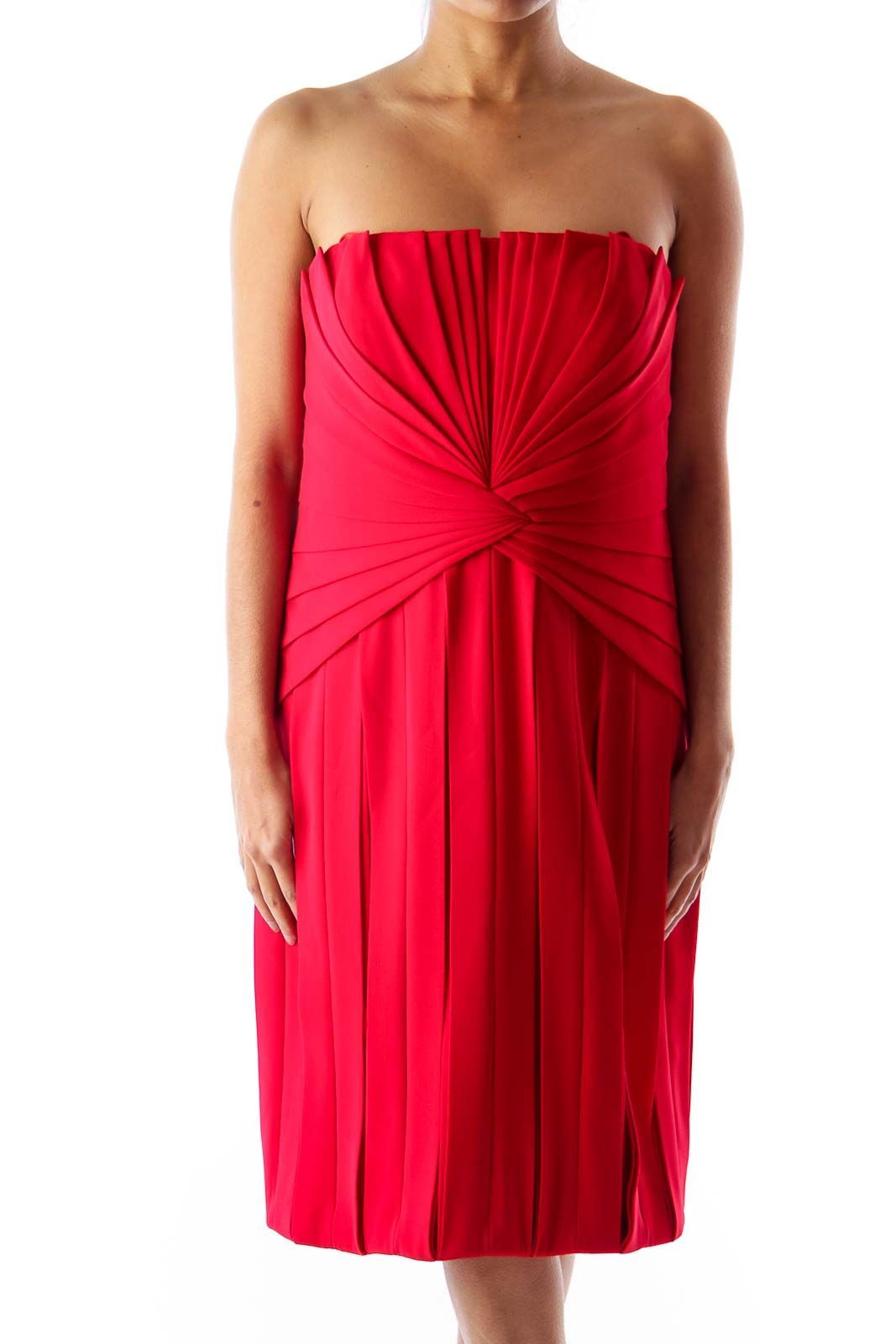 Red Pleated Party Dress Front