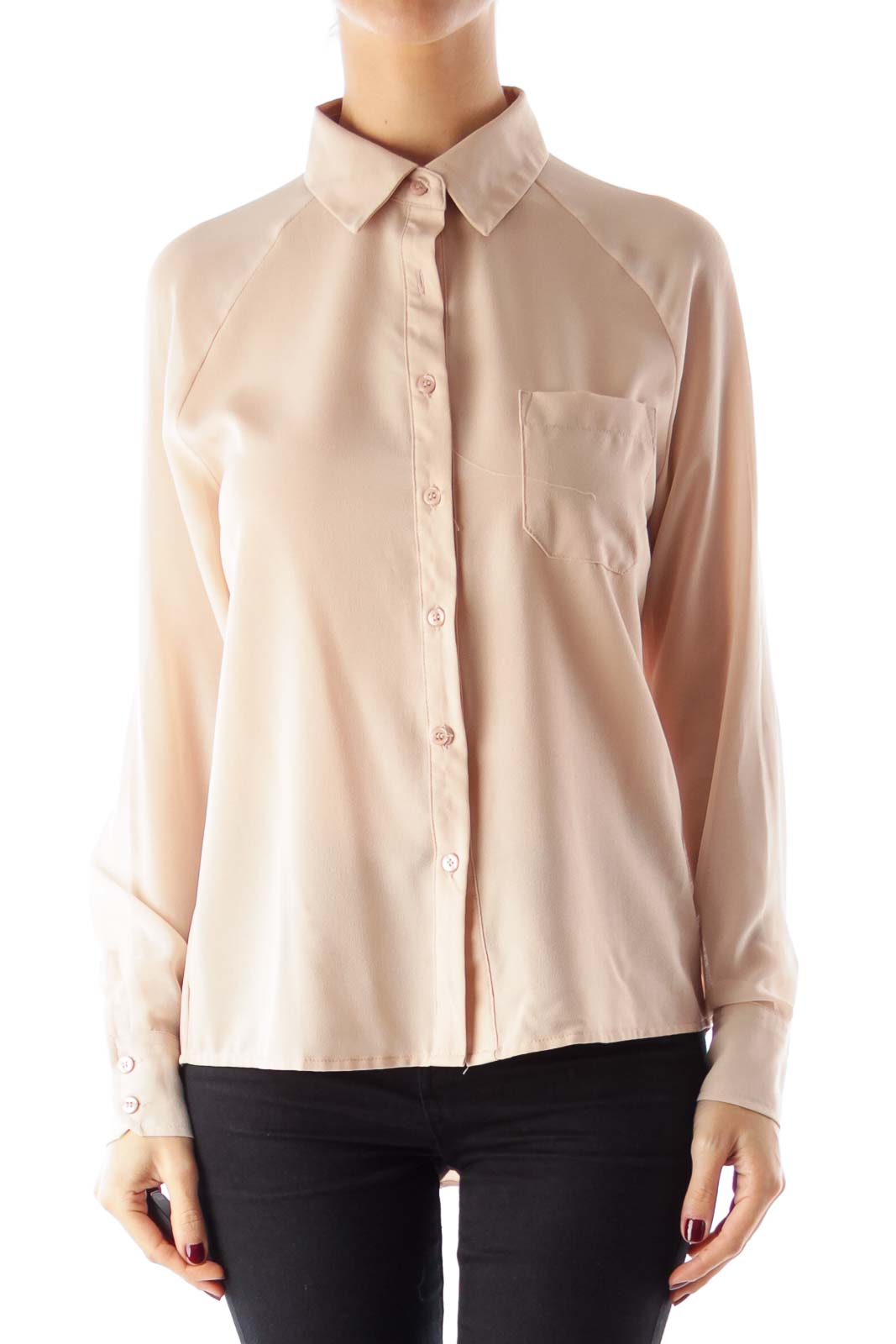 Dusty Pink Pocket Blouse Front