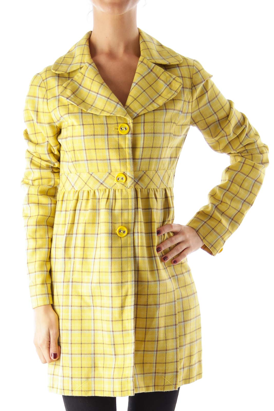 Yellow Plaid Long Peacoat Front